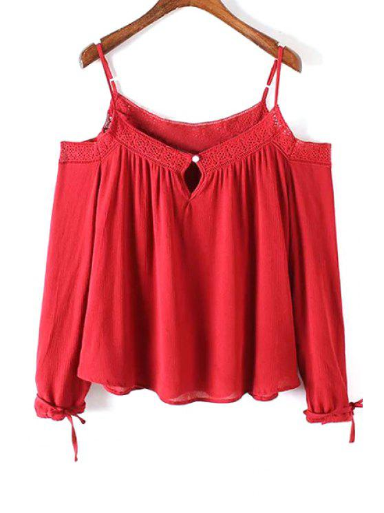 buy Lace Spliced Cold Shoulder Spaghetti Straps Long Sleeve Blouse - RED S