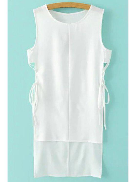 Manches Side Slit Haut Robe Bas - Blanc S