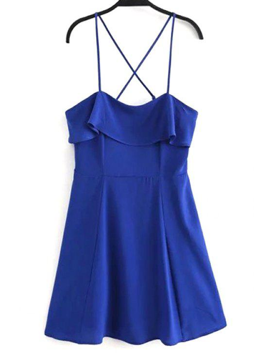 hot Fitting Solid Color Flounce Ruffles Cami Sleeveless Dress - BLUE L