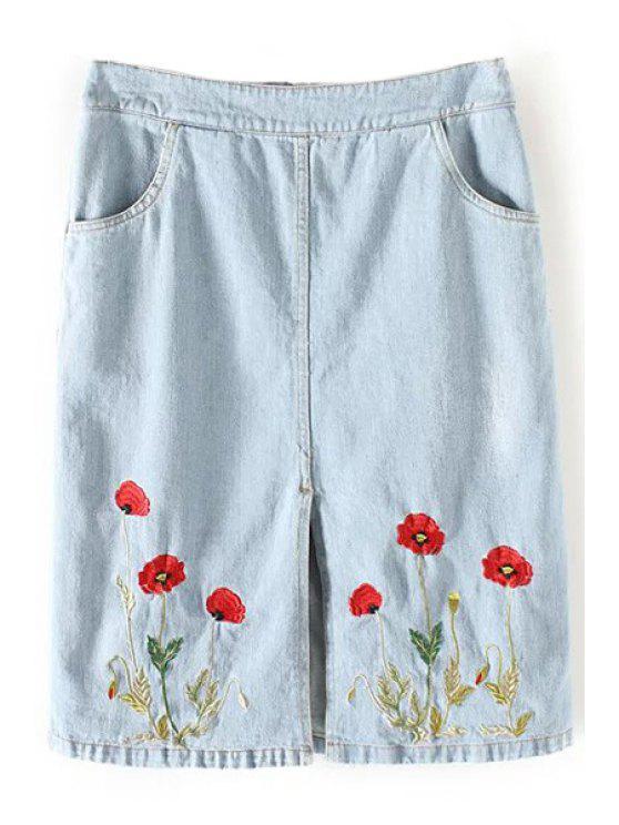 fancy Floral Embroidery Straight Denim Skirt - LIGHT BLUE S