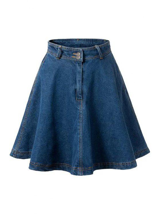 trendy Deep Blue Flare High Waist Denim Skirt - DEEP BLUE M