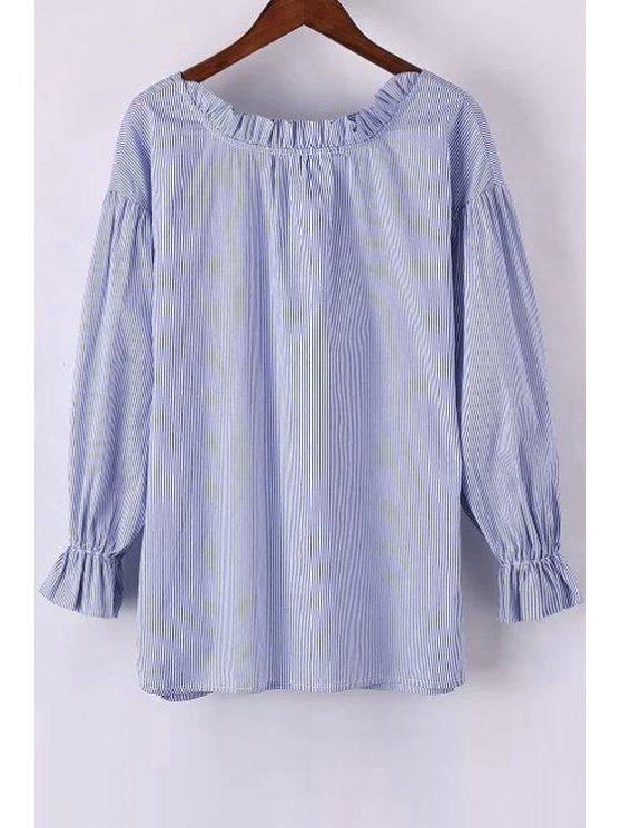 womens Sweet Striped Round Neck Long Sleeve Blouse - LIGHT BLUE L