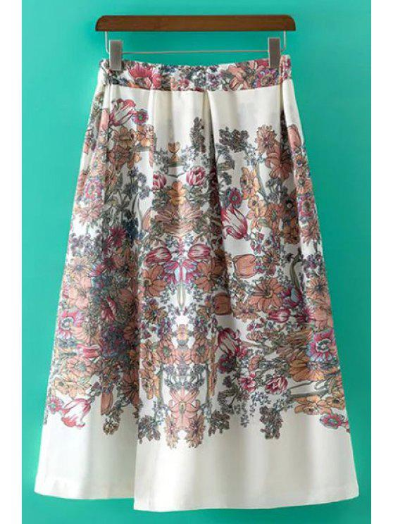latest Sweet Floral Print Irregular High Waist Skirt - WHITE L