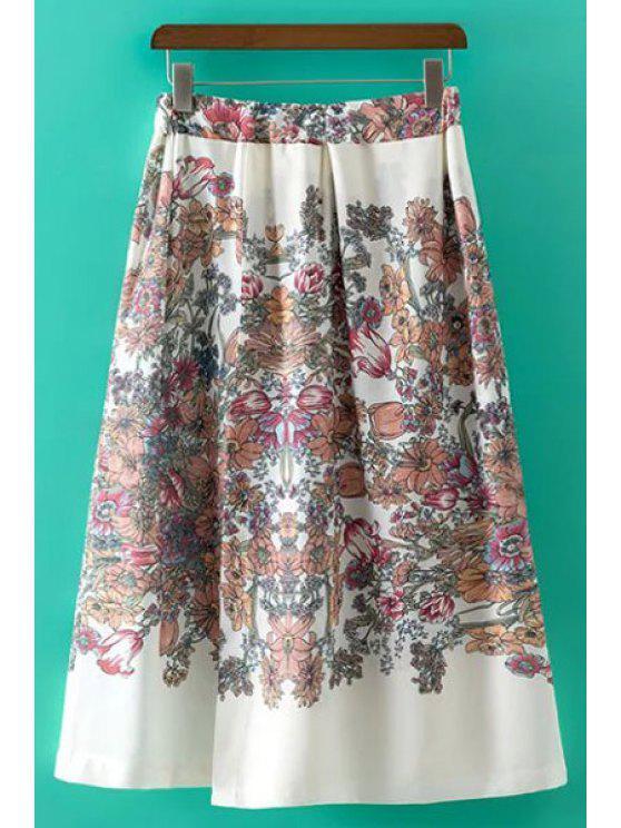 Dulce de la impresión floral de la falda irregular de cintura alta - Blanco L