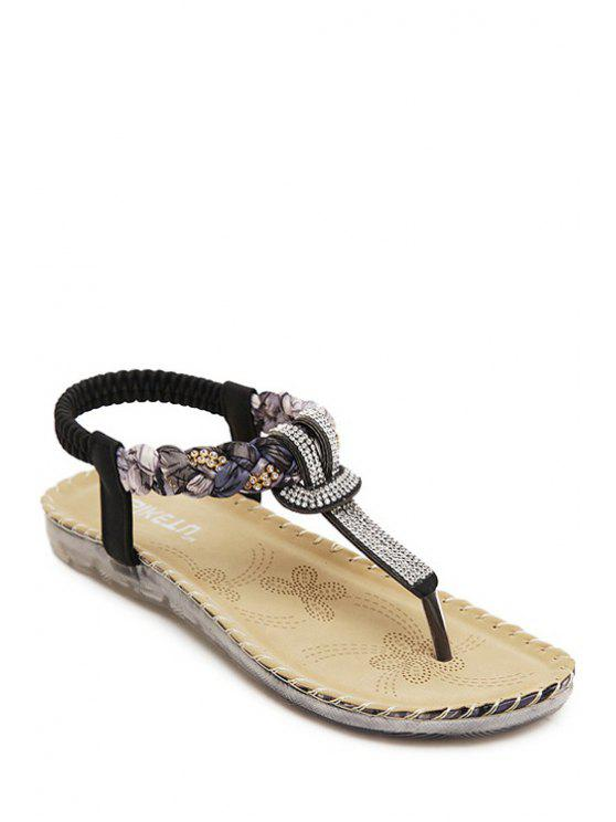 best Rhinestone Color Matching Elastic Sandals - BLACK 36