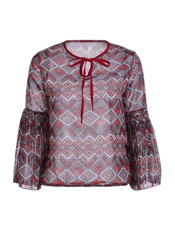 hot Ethnic Print Long Sleeve Chiffon Blouse - BRICK-RED ONE SIZE(FIT SIZE XS TO M)