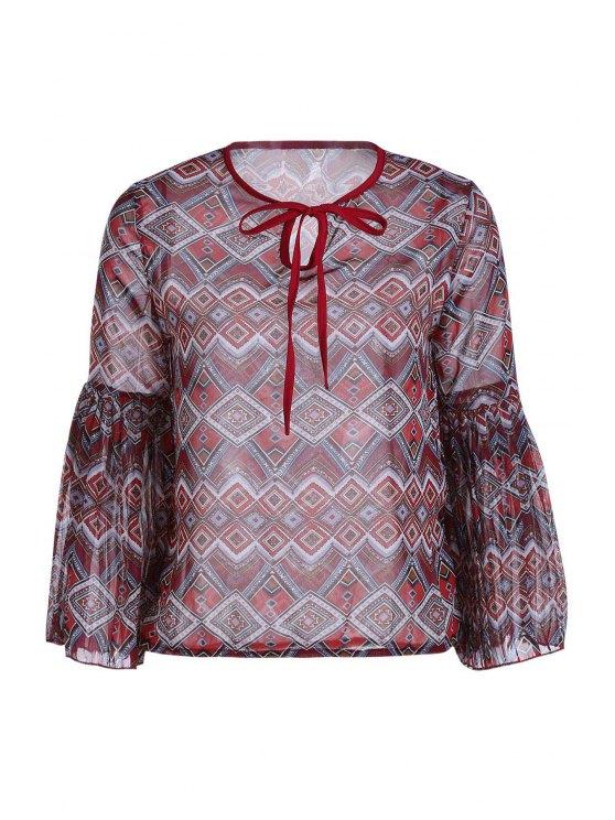 Ethnic Print manga larga blusa de la gasa - Rojo ladrillo Un tamaño(Montar tam
