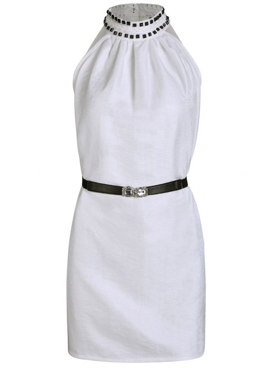 buy Solid Color Rivet Round Neck Sleeveless Dress - WHITE ONE SIZE(FIT SIZE XS TO M)