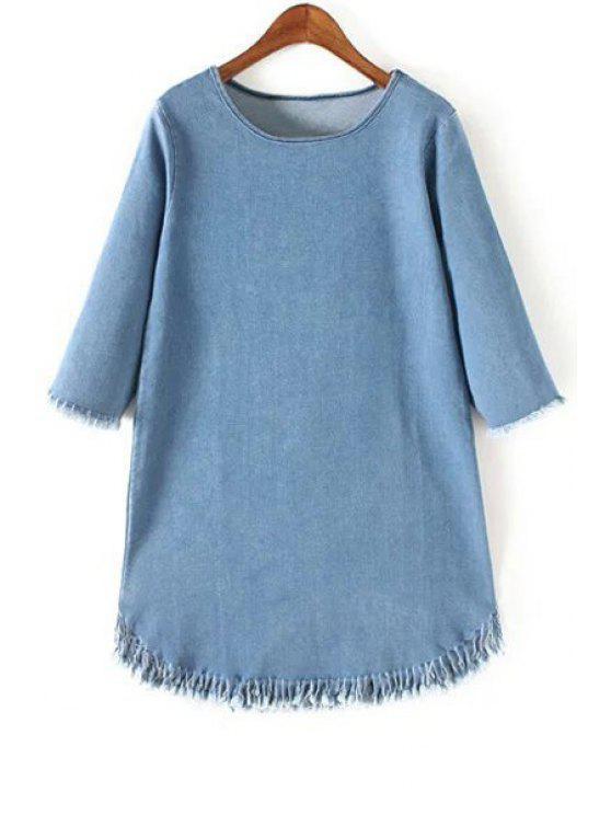 Franjas de cuello redondo manga 3/4 vestido de dril de algodón - Azul Claro L