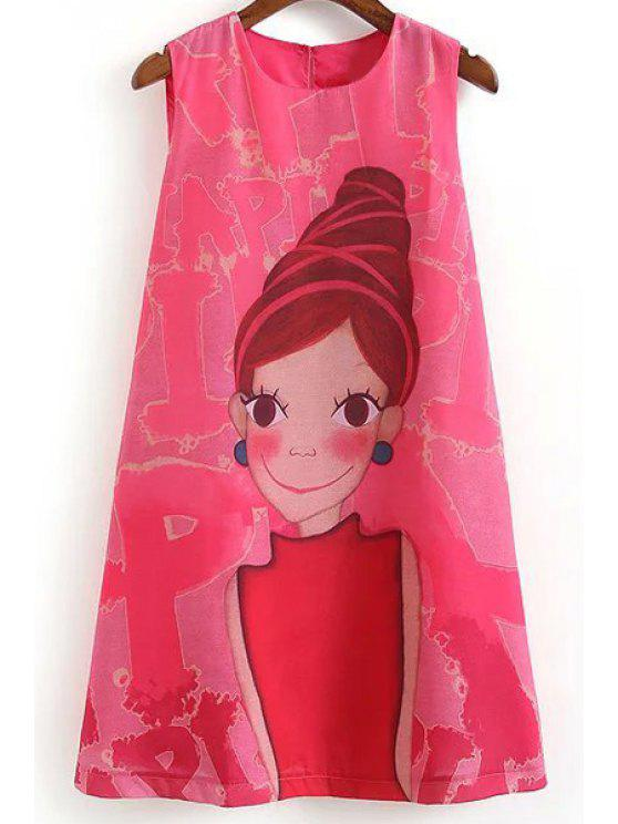 lady Cartoon Print Round Collar Sleeveless Dress - ROSE S