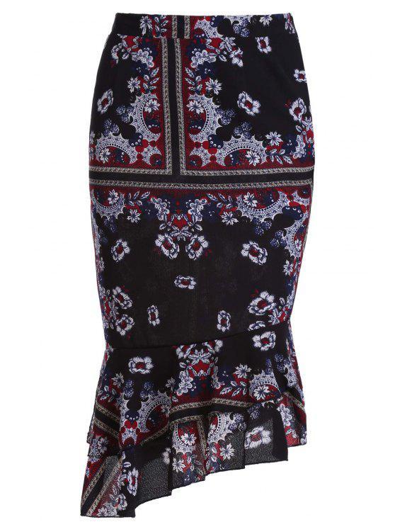 Ethnic Print cintura alta falda sirena - Negro M