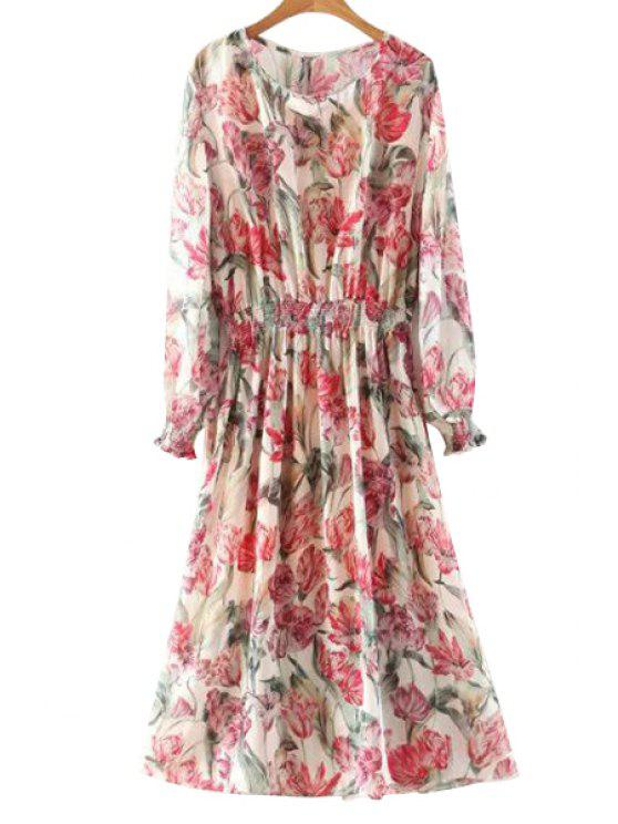 shops Floral Long Sleeve Blouson Dress - COLORMIX M