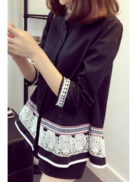 best Faux Pearl Trapeze Ethnic Shirt - BLACK 4XL