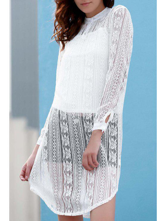 latest White Spaghetti Straps and See Through Stand Neck Long Sleeve Lace Twinset - WHITE XL