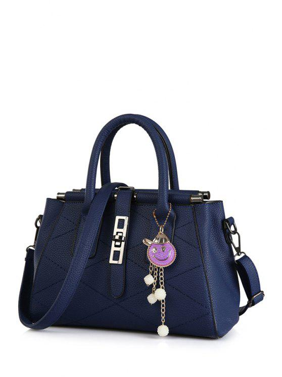 trendy Checked Stitching Pendant Tote Bag - DEEP BLUE