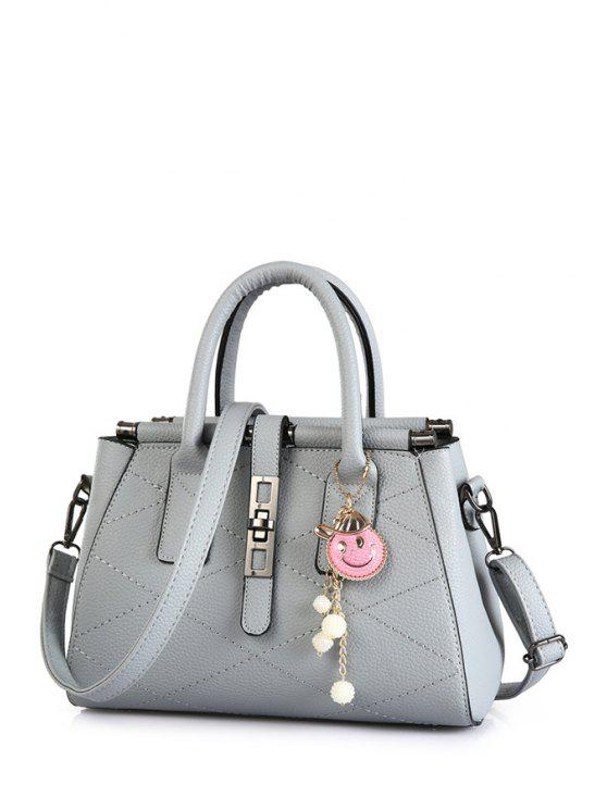 latest Checked Stitching Pendant Tote Bag - GRAY