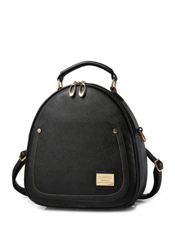 ladies Solid Color Stitching Metal Satchel - BLACK