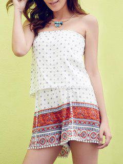 Trendy Strapless Ethnic Print Laciness Women's Romper - White L