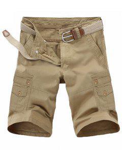 Loose Fit Summer Pocket Solid Color Cargo Shorts For Men - Khaki 33
