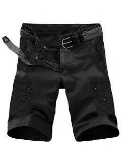 Loose Fit Summer Pocket Solid Color Cargo Shorts For Men - Black 31