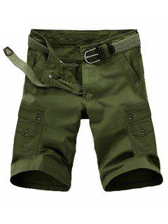 Loose Fit Summer Pocket Solid Color Cargo Shorts For Men - Army Green 32