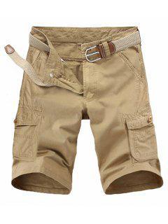 Loose Fit Multi-pockets Solid Color Cargo Shorts For Men - Khaki 32