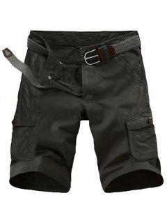Loose Fit Multi-pockets Solid Color Cargo Shorts For Men - Black 32