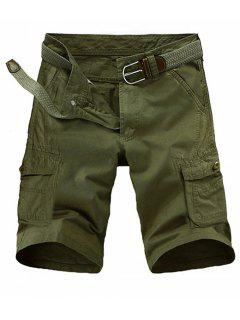 Loose Fit Multi-pockets Solid Color Cargo Shorts For Men - Army Green 33