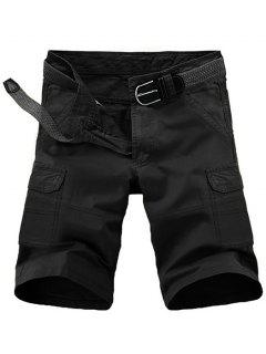 Loose Fit Pockets Solid Color Cargo Shorts For Men - Black 33