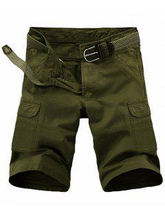 Loose Fit Pockets Solid Color Cargo Shorts For Men - Army Green 36