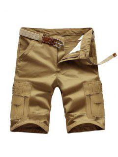 Loose Fit Summer Pockets Solid Color Cargo Shorts For Men - Dark Khaki 34