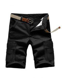 Loose Fit Summer Pockets Solid Color Cargo Shorts For Men - Black 32