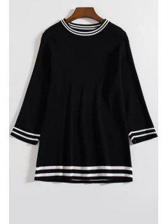 Loose Color Block Round Neck 3/4 Sleeve Sweater - Black