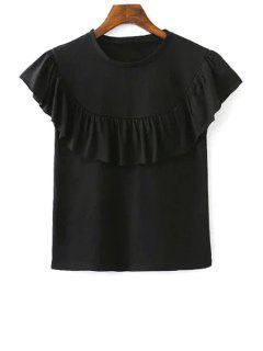 T-shirt Couleur Pure Col Rond Manches Courtes à Volants - Noir L
