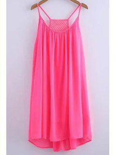 Mousseline De Soie Mesh Design Robe Flippy - Rose PÂle M