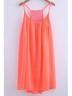 Chiffon Mesh Design Flippy Dress - Jacinth L