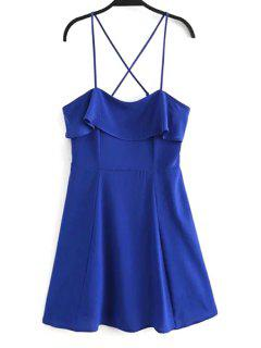 Fitting Solid Color Flounce Ruffles Cami Sleeveless Dress - Blue L