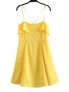 Fitting Color Sólido Del Volante Volantes Vestido Sin Mangas Cami - Amarillo L