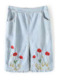 Floral Embroidery Straight Denim Skirt - Light Blue L