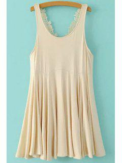 Lace Crisscross Back Flippy Dress - Off-white Xl