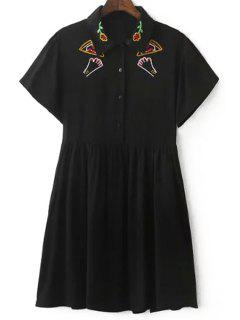 Embroidery Turn Down Collar Short Sleeve Dress - Black L