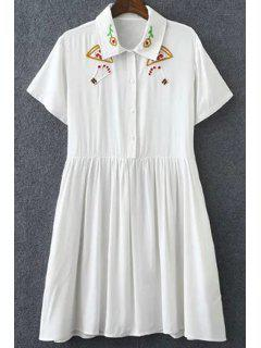 Embroidery Turn Down Collar Short Sleeve Dress - White L