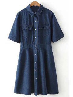 Pockets Single-Breasted Shirt Collar Short Sleeve Denim Dress - Deep Blue Xl