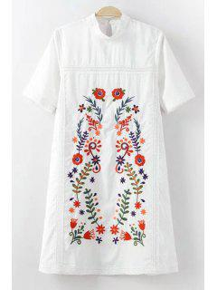 Embroidery Mock Neck Short Sleeve Dress - White L