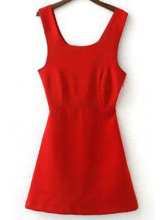 Back Cross Self Tie Sleeveless Dress - Red L