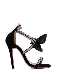 Bow Rhinestone Stiletto Heel Sandals - Black 39
