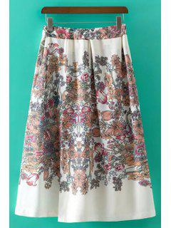 Sweet Floral Print Irregular High Waist Skirt - White L