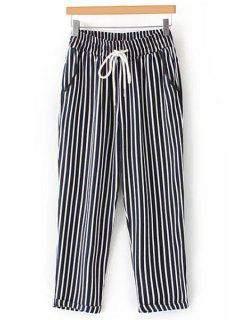 Casual Striped High Waist Nine Minutes Of Pant - Black L
