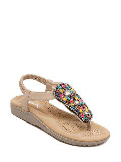 Rhinestone Colorful Stone Elastic Sandals - Apricot 39