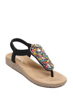 Rhinestone Colorful Stone Elastic Sandals - Black 39